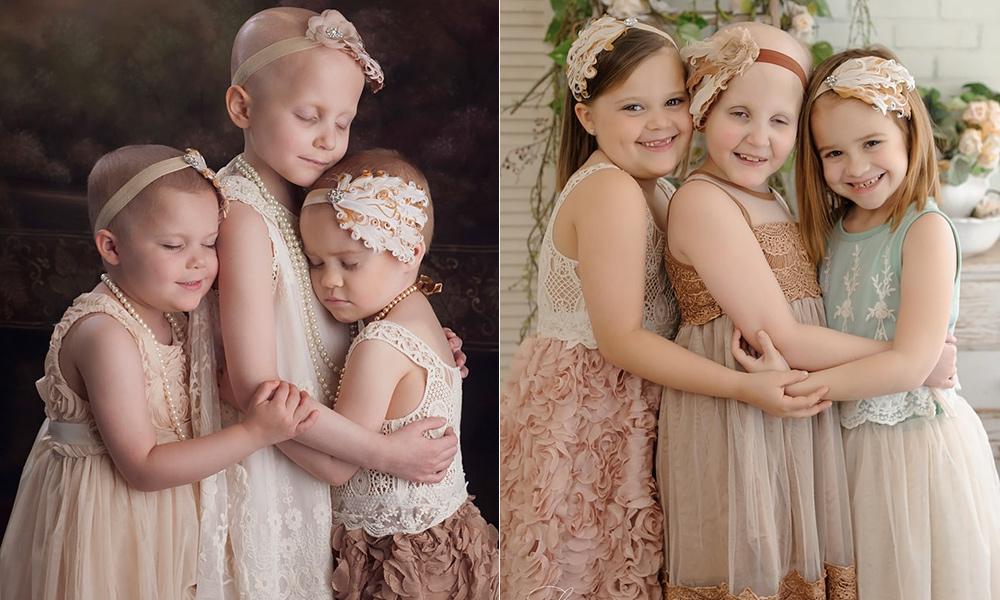 a9c074ad5 Em 2014, a fotógrafa americana Lora Scantling, fotografou três meninas  lutando contra o câncer infantil. Na bela imagem estavam Rylie, então com 3  anos, ...